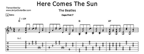 guitar tutorial here comes the sun the beatles here comes the sun jerry s guitar bar