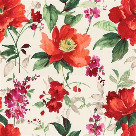 flower design on cloth bold green red floral fabric fresh cut flame loom decor