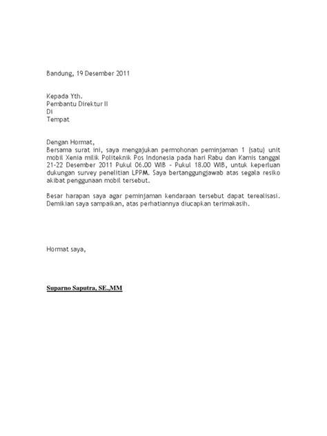 surat peminjaman mobil dinas