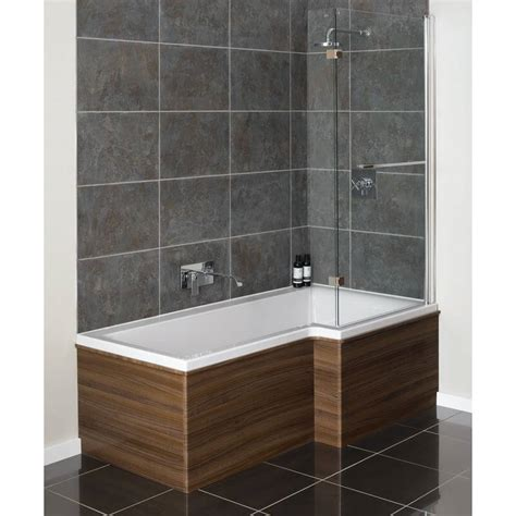 l shaped bathtub moods designer l shaped bath screen 815mm x 1500mm qfl0016