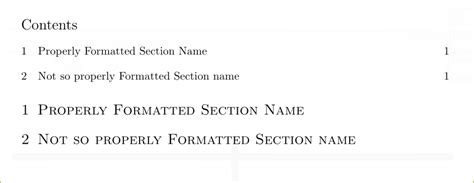 section in a sentence sectioning table of contents sentence case on section