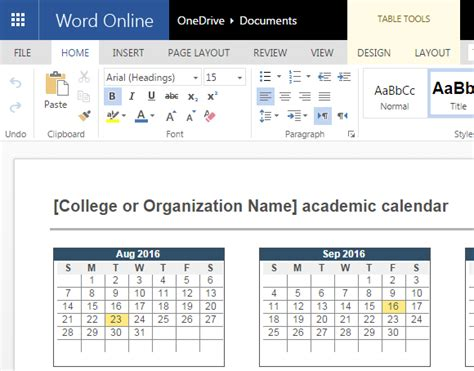 online help layout 2016 2017 academic calendar template for word online