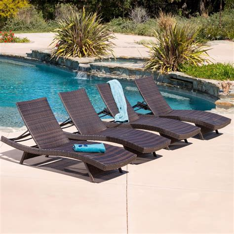 outdoor furniture pool lakeport outdoor adjustable chaise lounge chairs set of 4