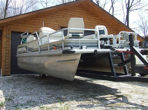 pontoon boat trailer types 18 pontoon boat w 40hp merc including a scissors trailer
