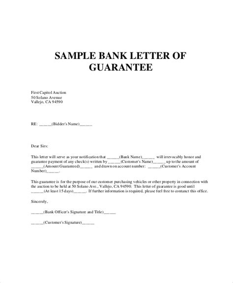Letter Of Guarantee Bank Loan guarantee letter