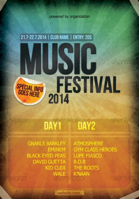 festival poster template 15 provoking exles of lovely flyer template