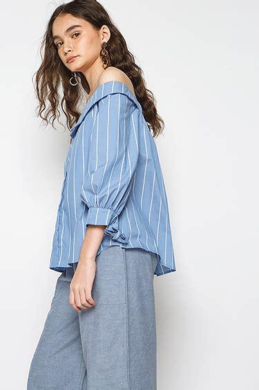 Blouse Adena woven blouse blue striped adena cottonink