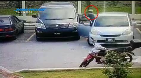 Cermin Kereta Myvi lelaki berkopiah pecah cermin kereta curi rm30k