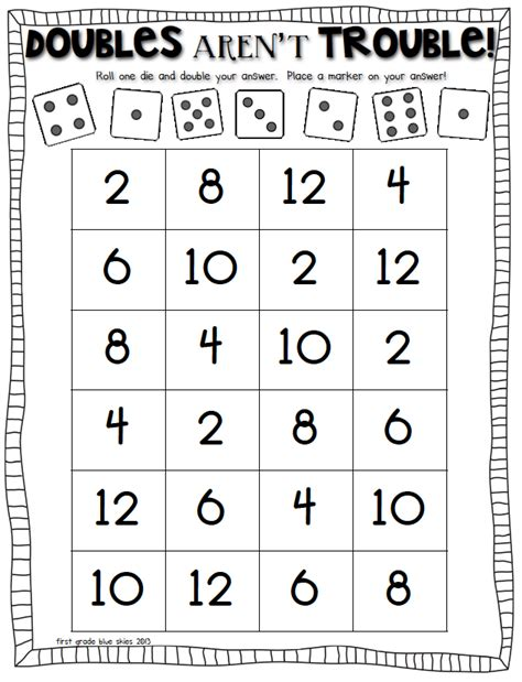 printable doubles games double trouble math game to practice doubles facts