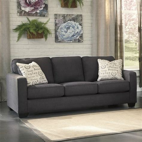 microfiber couch ashley furniture ashley furniture alenya microfiber sofa in charcoal 1660138