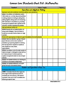 2nd Grade Common Core Standards W Ca Additions