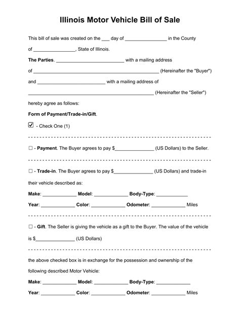 printable bill of sale car illinois free illinois bill of sale forms pdf word eforms