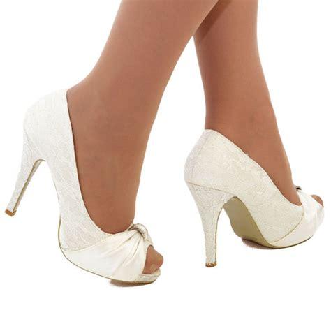 Wedding Shoes High Heels Ivory by New Ivory Satin N Lace Wedding Bridal High Heel Platform