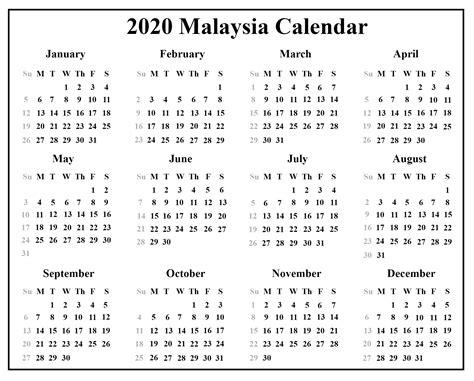 blank malaysia calendar  template   excel word format printable