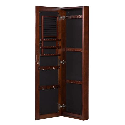 Wall Hung Jewelry Armoire by Walnut Wall Mount Jewelry Mirror Southern Enterprises Wall