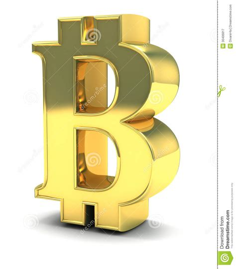 3D Golden Bitcoin Isolated On White Royalty Free Stock ... B