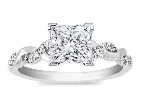 engagement ring princess twisted pave band