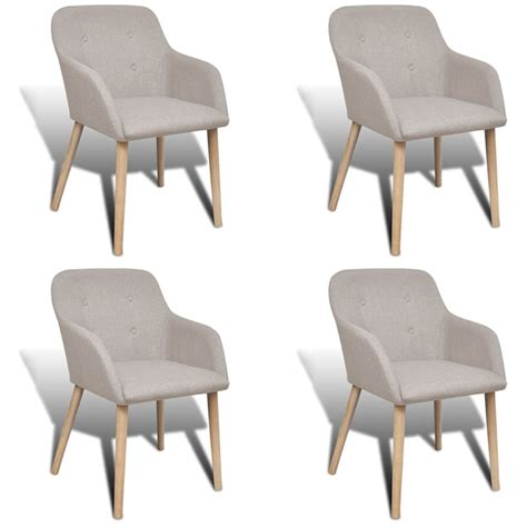 Dining Chairs 4 4 Fabric Dining Chairs With Armrest Beige Vidaxl