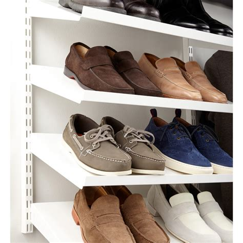 elfa shoe storage white elfa angled solid metal shelves the container store