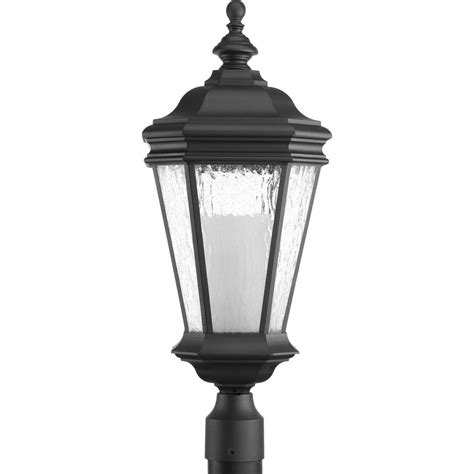 landscape lighting accessories bel air lighting 3 light black outdoor chateau villa post lantern 40404 bk the home depot