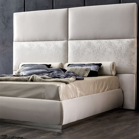 tall padded headboard panel upholstered bed with tall headboard
