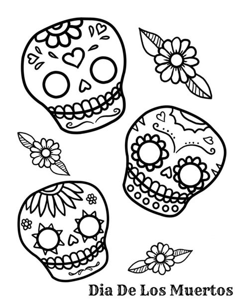 coloring pages day of the dead skulls free printable day of the dead coloring pages best