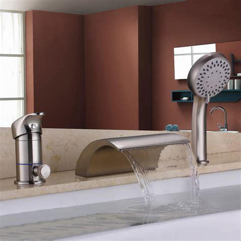 roman bathtub brushed nickel waterfall roman tub filler faucet hand