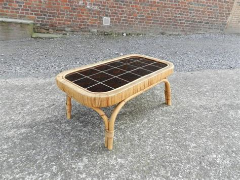 Black Rattan Coffee Table Rattan And Black Ceramic Coffee Table Circa 1950 For Sale At 1stdibs