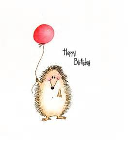 cute hedgehog happy birthday greeting card by