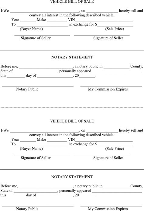 sle of notary vehicle bill of sale with notary template for