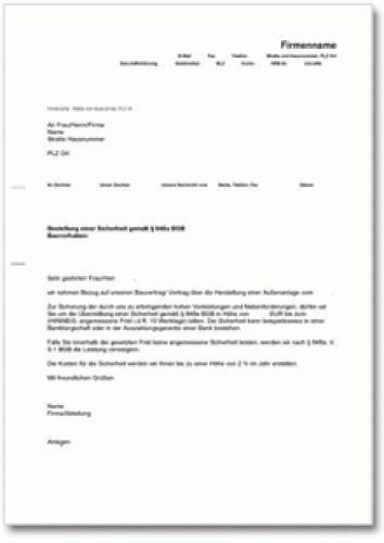 Musterbriefe Korrespondenz Aufforderung Zur Sicherheitsleistung F 252 R Handwerker