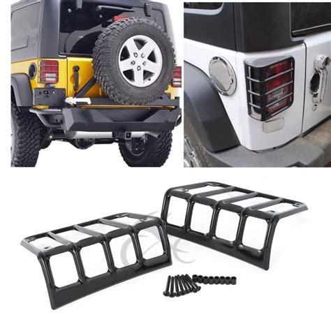 Jeep Jk Light Covers Steel Metal Rear Light Protector Guards Covers For 07