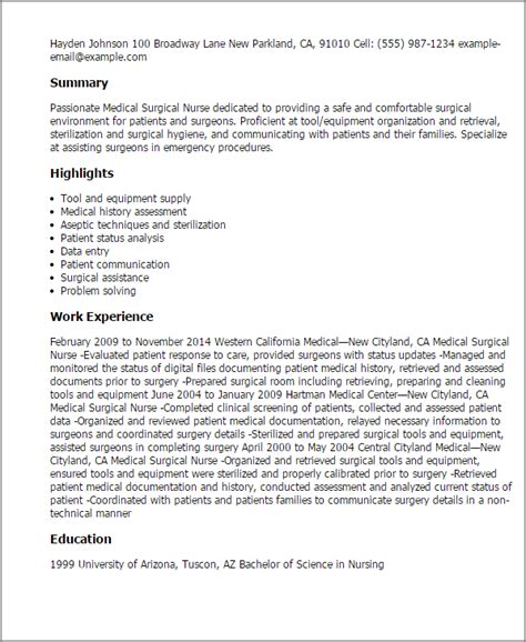 rn resumes med surg professional surgical templates to showcase