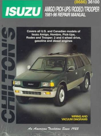 car engine manuals 1997 isuzu rodeo free book repair manuals isuzu amigo pick ups rodeo trooper 1981 96 chilton s total car care manual shop findsimilar com