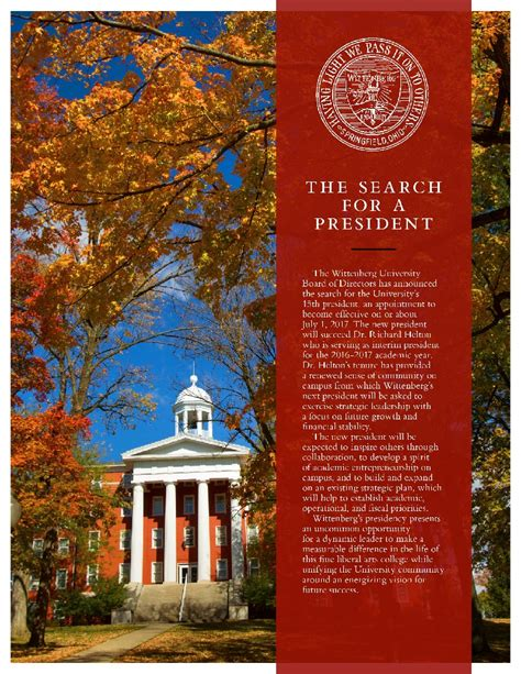 Ohio State Part Time Mba Statistics by Presidential Search Committee Wittenberg