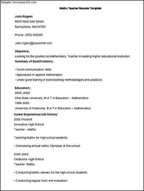 Sle Resume Format For Teachers by Maths Teachers Resume Sales Lewesmr