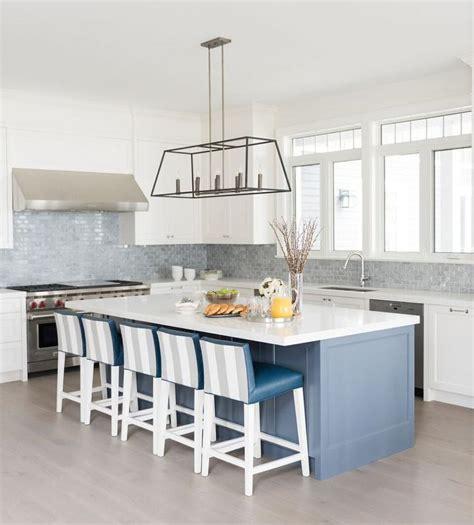 gray and blue kitchen with gray mini brick backsplash