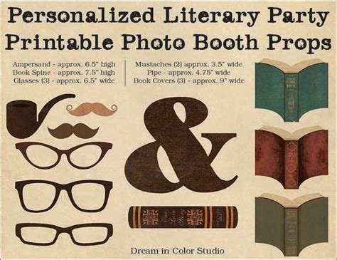 themes in sports literature personalized photo booth props for literary wedding or