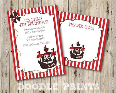 printable birthday cards pirate printable pirate birthday party invitation thank you