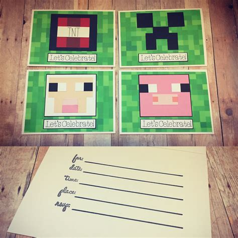 Handmade Minecraft - handmade minecraft birthday invitations minecraft creeper