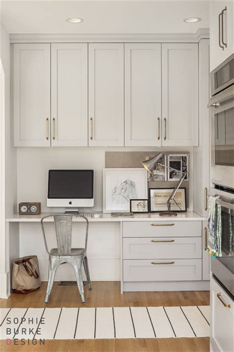Using Kitchen Cabinets For Home Office by Kitchen Desk Contemporary Kitchen Burke Design