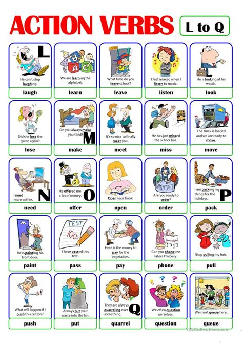 pictionary verb set 3 from l to q worksheet free esl printable worksheets made by