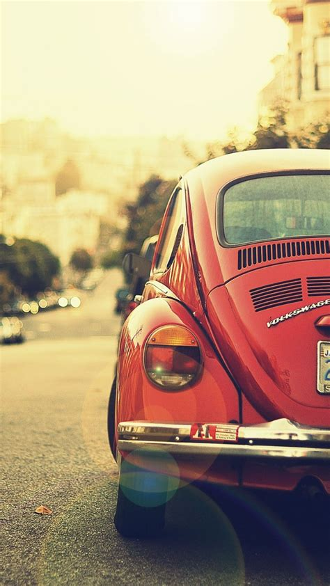 wallpaper iphone 5 vw 720x1280 old red volkswagen beetle in the street galaxy s3