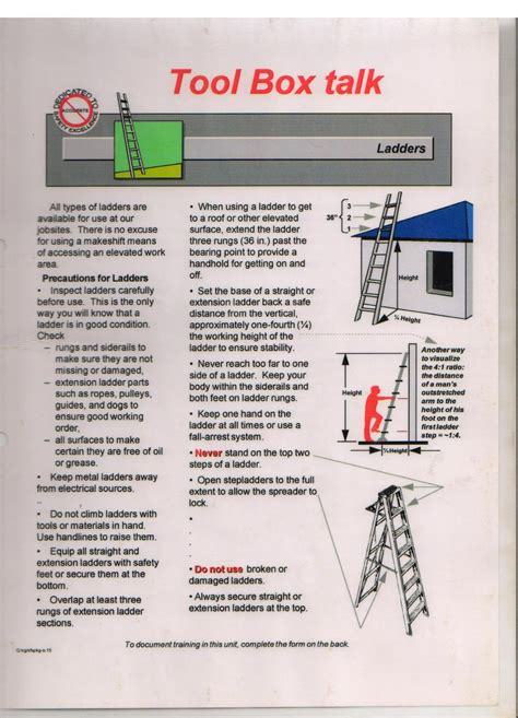 very simple safety toolbox talk material