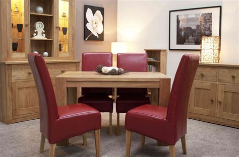 Small Oak Dining Table And 4 Chairs Romano Solid Oak Furniture Small Dining Table And Four Leather Chairs Set Ebay
