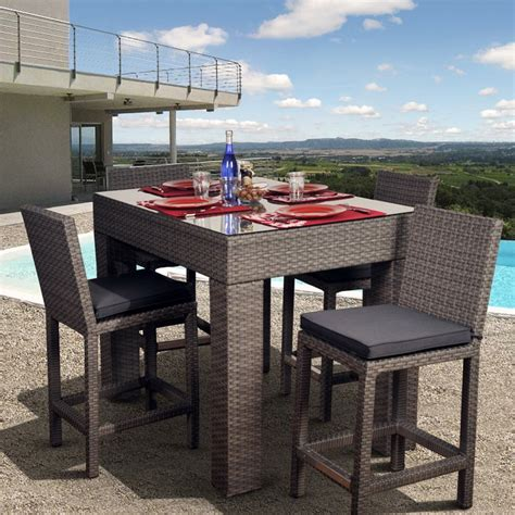 Bar Height Patio Dining Sets Atlantic Monza All Weather Wicker Deluxe Bar Height Patio Dining Set Seats 4 Patio Dining