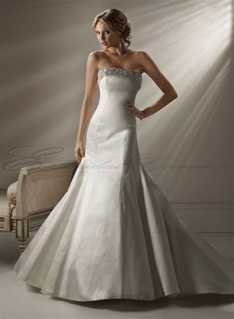 Dresses online satin a line strapless fit and flare wedding dress