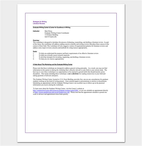 Literature Review Template by Literature Review Outline Template 20 Formats Exles
