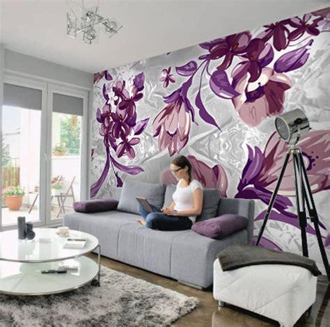 purple flower wall murals wallpaper wall mural 350cm w x 250cm h abstract grey purple flower yasuo ebay