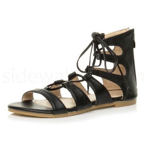 strappy sandals womens flat lace up strappy ankle tie gladiator
